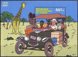 [SPEC016] TINTIN Au Congo, Le Bloc, BD, émission Commune Avec La Belgique, **/mnh, Voiture, Girafe - Democratic Republic Of Congo (1997 - ...)
