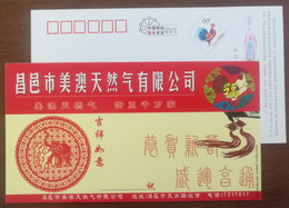 Chinese Paper Cutting,auspicious Elephant,CN 05 Changyi Meiao Natural Gas Company New Year Greeting Pre-stamped Card - Olifanten