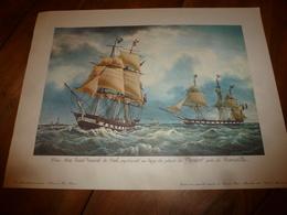 Trois Mâts SAINT VINCENT DE PAUL Au Large Du Phare Planier, Près MARSEILLE (Portrait Navire  ,dim. Hors-tout = 48 X 36cm - Décoration Maritime