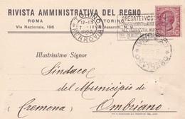 STORIA POSTALE - RIVISTA AMMINISTRATIVA DEL DEL REGNO ROMA - TORINO-VIAGGIATA DA TORINO PER OMBRIANO (CREMONA ) - 1900-44 Vittorio Emanuele III