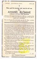 DP Amand Blomme ° Eernegem Ichtegem 1863 † 1944 X Julie Decoster - Devotion Images
