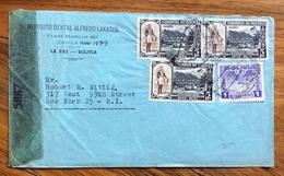 POSTA AEREA  PAR AVION  BOLIVIA STATI UNITI FROM LAPAZ TO NEW YORK THE  1943 CON CENSURA - Bolivia