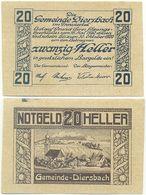 Diersbach Bei Schärding, 1 Schein Notgeld 1920, Ort Kirche, Österreich 20 Heller - Oesterreich