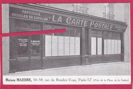 """75-PARIS- """"MAISON MAZOIRE"""" - 56-58 Rue Du Rendez-Vous,Paris 12e-Magasin Cartes Postales-PUBLICITE-PAPETERIE-METIER- - Commerce"""
