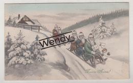 Kaart Met 5 Kerstmannen/Sancta Claus/Père Noël - Illustrateur - Santa Claus
