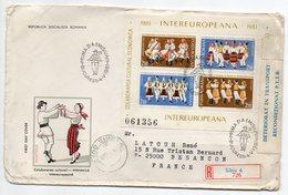 Roumanie-1981-lettre Recommandée SIBIU Pour Besançon-(France)-composition De Timbres Recto Verso +vignette DETERIORAT - Lettres & Documents