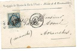 VIRE Calvados CAD Août 1868 + GC 4291 Sur 20c Empire Env. Chemins De Fer De L'Ouest Service De La Construction ..G - Marcophilie (Lettres)
