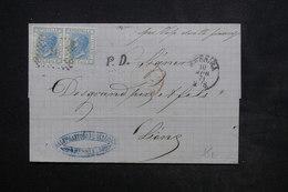 ITALIE - Lettre De Messina Pour La France En 1871 , Affranchissement Plaisant - L 23975 - Marcofilía
