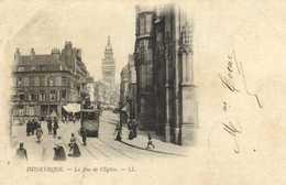 DUNKERQUE  La  Rue De L'Eglise Tram Precurseur   RV Timbre 1C - Dunkerque