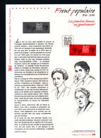 2016, DOCUMENT OFFICIEL DE LA POSTE: Front Populaire 1936 2016, Les Premieres Femmes Au Gouvernement - Documents Of Postal Services