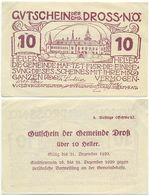 Dross Bei Krems, 1 Schein Notgeld 1920, Schloss, Österreich 10 Heller - Oesterreich
