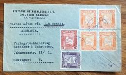 POSTA AEREA  PAR AVION  BOLIVIA  GERMANY  FROM LAPAZ   TO STUTTGART    THE  1945 - Bolivia