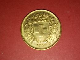 PIÈCE EN OR 20 FRANCS SUISSE HELVETIA 1949  VOIR PHOTOS - Switzerland