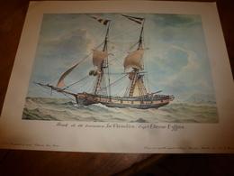 Brick De 180 Tonneaux LE THIMOLEON , Capitaine Etienne Eyffren (Portrait Navire  ,dim. Hors-tout = 48 X 36cm - Maritime Decoration