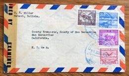 POSTA AEREA  PAR AVION  BOLIVIA  STATI UNITI U.S.A.  FROM  CATAVI   TO  SAN BERNARDINO CALIFORNIA   THE  1944 - Bolivia