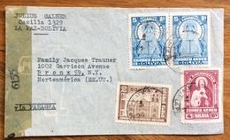 RELIGIONE POSTA AEREA  PAR AVION  BOLIVIA  STATI UNITI U.S.A.  FROM LA PAZ  TO NEW YORK  THE  1944  CENSURATA - Bolivia