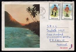CASTRIES - SAINTE LUCIE / 1987 LETTRE AVION POUR LA FRANCE - STRASBOURG (ref LE3236) - St.Lucie (1979-...)