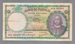 PORTUGAL»20 ESCUDOS»1954»PICK-153A.31»VF CONDITION»CIRCULATED - Portugal