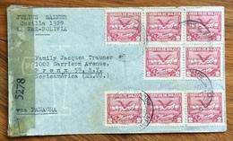 POSTA AEREA  PAR AVION  BOLIVIA  STATI UNITI U.S.A. VIA PANAGRA   FROM LA PAZ  TO NEW YORK  THE  1944  MONOCOLORE - Bolivia