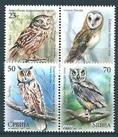 Serbia (2017) - Set -   /  Birds - Oiseaux - Owls - Eulen - Aves - Búhos, Lechuza