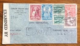 POSTA AEREA  REGISTERED PAR AVION  BOLIVIA  STATI UNITI U.S.A.  FROM LA PAZ  TO NEW YORK THE 1944 MONOCOLORE CON 8 PEZZI - Bolivia