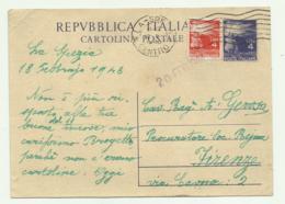 CARTOLINA POSTALE LIRE 4 CON AGGIUNTA LIRE 4 1948 FG - 1946-60: Gebraucht