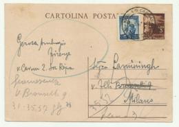 CARTOLINA POSTALE LIRE 3 CON AGGIUNTA LIRE 5  1947  FG - 1946-60: Gebraucht