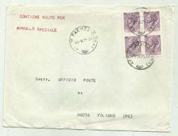 QUARTINA LIRE 25 SU BUSTA 1971 - 6. 1946-.. Republik