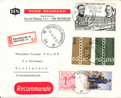 Belgium Registered Cover Sent To Czechoslovakia Bruxelles 17-5-1971 With Topic Stamps EUROPA CEPT And Other - Belgique