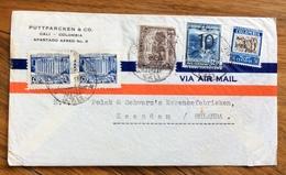 POSTA AEREA  PAR AVION  COLOMBIA  HOLLAND   FROM CALI  TO  ZAANDAM  THE  17/2/1939 - Bolivia