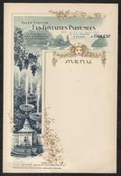TRES BEAU MEUNU DES FONTAINES PARFUMEE A GRASSE DEBUT 1900 - Menükarten