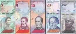 Venezuela Lot De 5 Billets 2 + 5 + 10 + 20 + 1000 Bolivares 2018 Animaux UNC NEUF - Venezuela