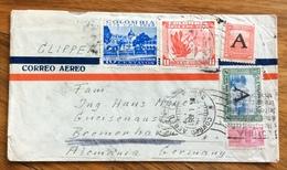 POSTA AEREA  PAR AVION  COLOMBIA  GERMANY   FROM BOGOTA'  TO  BREMERHAVEN  THE  5/1/51 - Bolivia