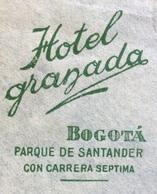TEMATICA ALBERGHI POSTA AEREA  PAR AVION  COLOMBIA  U.S.A.  FROM  HOTEL GRANADA BOGOTA'  TO NEW YORK  THE 1943 CENSURATA - Bolivia