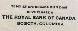 COLOMBIA   CANADA   FROM  BOGOTA'  TO  HAMILTON  THE  29/11/1930 - Bolivia