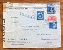 POSTA AEREA PAR AVION  MANCOMUN COLOMBIA  U.S.A.   FROM  MEDELLIN   TO CLOVERSVILLE  THE  18/6/42  CENSURATA - Bolivia