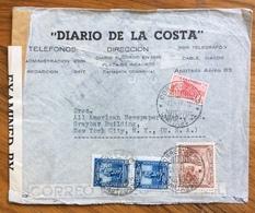 POSTA AEREA PAR AVION  COLOMBIA  U.S.A.   FROM CARTAGENA   TO NEW YORK  THE  21/4/42  CENSURATA DIARIO DE LA COSTA - Bolivia