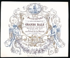 PORSELEINKAART GERAARDSBERGEN 16X12.5CM- SOCIETE D'OROHEE A GRAMMONT - GRANDS BALS 1843 - 2 SCANS - Geraardsbergen