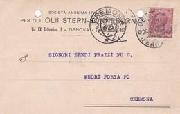 STORIA POSTALE- GENOVA - SOCIETA' ANONIMA ITALIANA -VIAGGIATA DA GENOVA PER CREMONA - 1900-44 Vittorio Emanuele III