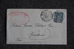 Timbre Seul Sur Lettre De ST DIE DES VOSGES Vers GERARDMER ( Type SAGE N°90 ). - 1877-1920: Période Semi Moderne