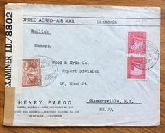 POSTA AEREA PAR AVION  COLOMBIA  U.S.A. FROM  MEDELLIN  TO GLOVERSVILLE THE  23/9/42  CENSURATA - Bolivia