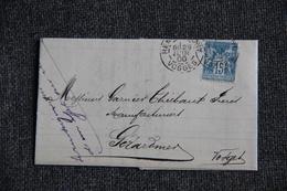 Timbre Seul Sur Lettre De REMIREMONT Vers GERARDMER ( Type SAGE N°90 ). - 1877-1920: Période Semi Moderne