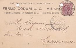 STORIA POSTALE- MILANO FERMO CODURI , FILATURE BOURRETTES ( CASCAMI SETA) -VIAGGIATA DA MILANO PER CREMONA - Storia Postale