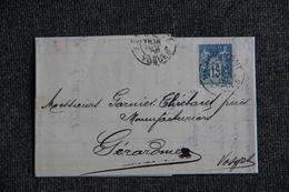 Timbre Seul Sur Lettre De REMIREMONT (88) Vers GERARDMER ( Type SAGE N°90 ). - 1877-1920: Période Semi Moderne