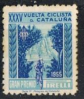 Sello Viñeta BARCELONA, 35 Volta Ciclista 1955. U.D.S. Gran Premio PIRELLI - Errors & Oddities