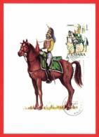 España. Spain. 1976. FDC. Uniformes Militares. Regimiento Alcantara. Tarjeta Maxima. Maximun Card - Tarjetas Máxima