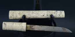Couteau Ancien Poignard De Samourai En Os Ciselé Bone Japan Knife - Knives/Swords