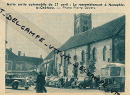 Photo (1954) : NEAUPHLE-LE- CHATEAU (Yvelines), Sortie Automobile Du TCF, Bus, 4 CV Renault, Eglise, Automobiles... - Old Paper