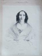 Lithographie Originale 1839 Mme GIBUS (la Femme Du Chapelier) Les Belles Femmes De Paris - Lithographies