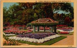 New York Buffalo Floral Emblem In Humboldt Park Curteich - Buffalo